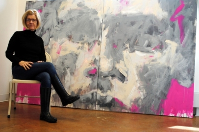 """Artist Leslie Nolan with her artwork """"Pulled By What Would Be"""""""