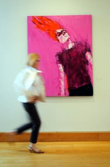 "Artist Leslie Nolan with ""Freefall"" at BlackRock Center for the Arts"