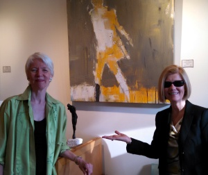 "Susan Calloway (left) with me and my artwork ""I Went, Not Looking Back"""