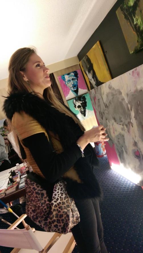 Visitor With Leslie Nolan Artwork