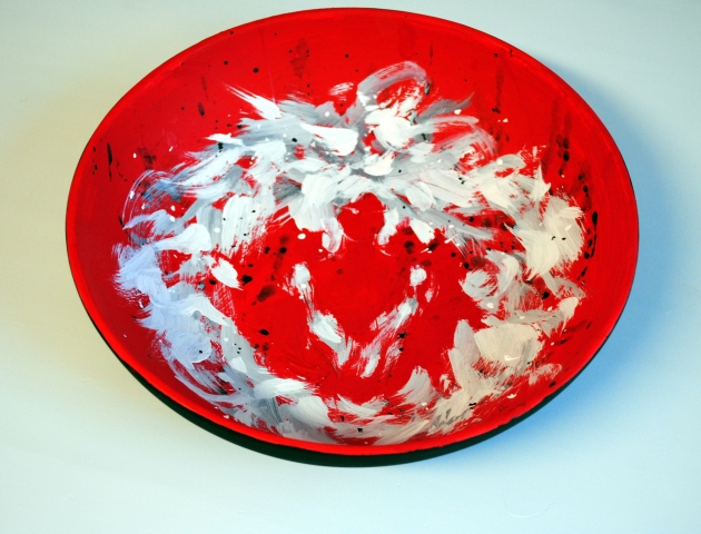 "Tottering An Alchemical Vessel 11"" diameter by 5"" high ceramic bowl, acrylic and graphite"