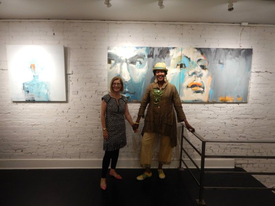 Artist Leslie Nolan With Marily Mojica at Susan Calloway Fine Arts Opening
